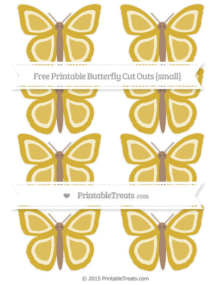 Free Metallic Gold Small Butterfly Cut Outs