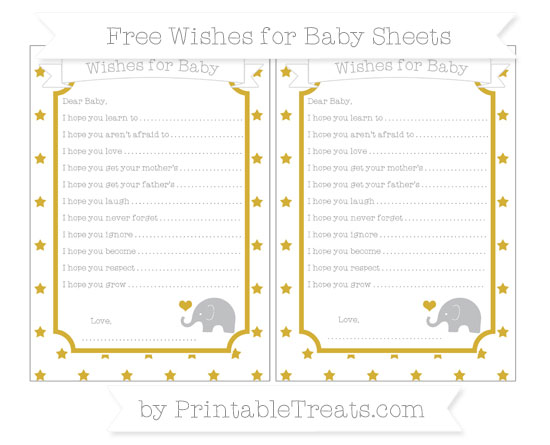 Free Metallic Gold Star Pattern Baby Elephant Wishes for Baby Sheets