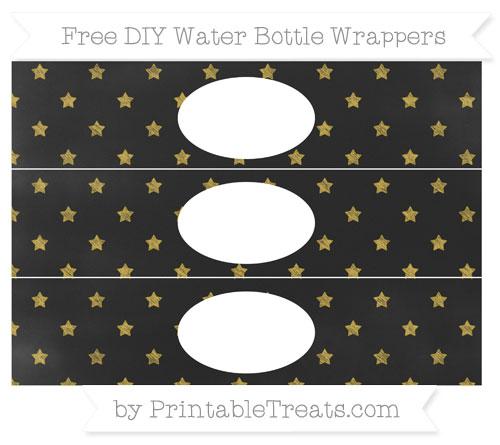 Free Metallic Gold Star Pattern Chalk Style DIY Water Bottle Wrappers