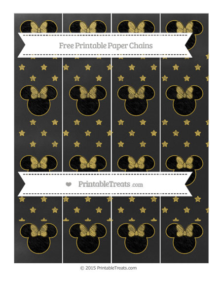 Free Metallic Gold Star Pattern Chalk Style Minnie Mouse Paper Chains