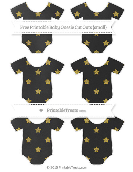 Free Metallic Gold Star Pattern Chalk Style Small Baby Onesie Cut Outs