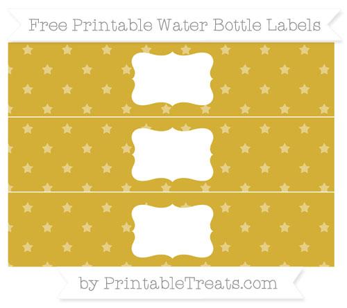 Free Metallic Gold Star Pattern Water Bottle Labels