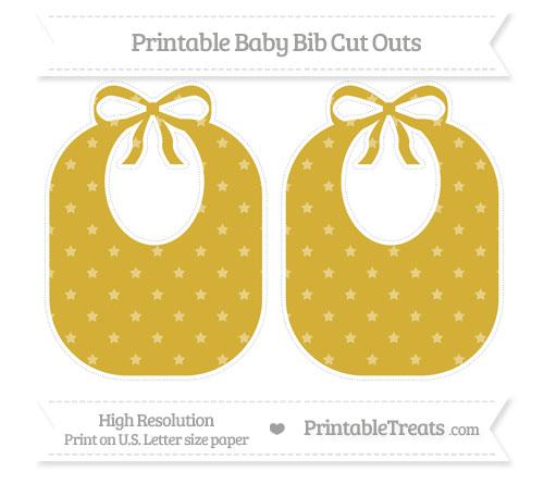 Free Metallic Gold Star Pattern Large Baby Bib Cut Outs