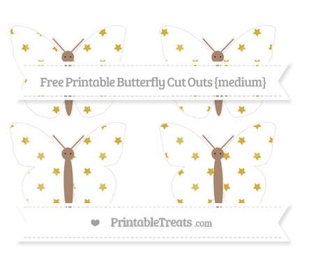 Free Metallic Gold Star Pattern Medium Butterfly Cut Outs