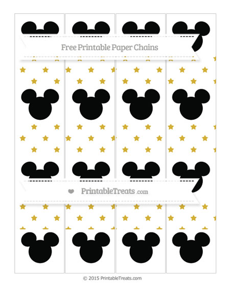 Free Metallic Gold Star Pattern Mickey Mouse Paper Chains