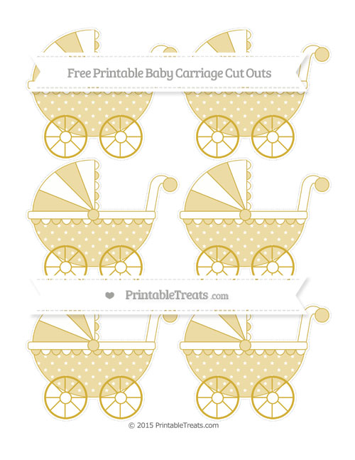 Free Metallic Gold Star Pattern Small Baby Carriage Cut Outs