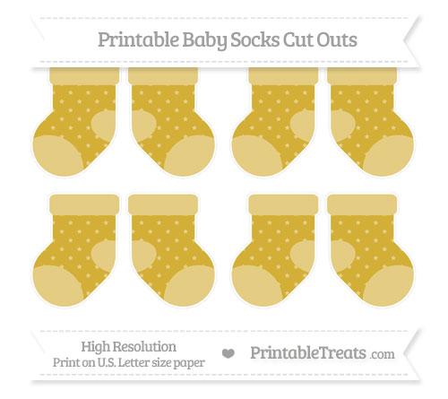 Free Metallic Gold Star Pattern Small Baby Socks Cut Outs
