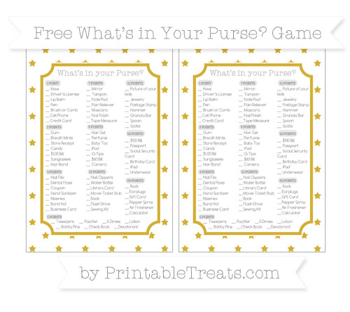 Free Metallic Gold Star Pattern What's in Your Purse Baby Shower Game