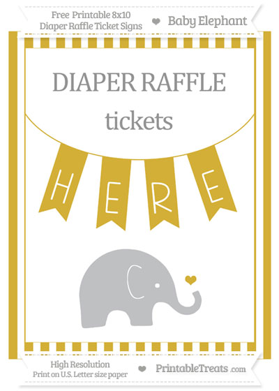Free Metallic Gold Striped Baby Elephant 8x10 Diaper Raffle Ticket Sign
