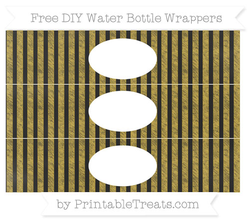 Free Metallic Gold Striped Chalk Style DIY Water Bottle Wrappers