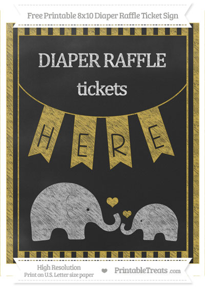 Free Metallic Gold Striped Chalk Style Elephant 8x10 Diaper Raffle Ticket Sign