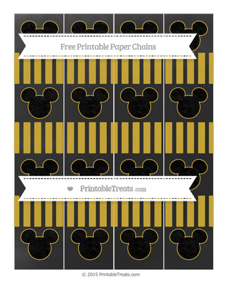 Free Metallic Gold Striped Chalk Style Mickey Mouse Paper Chains