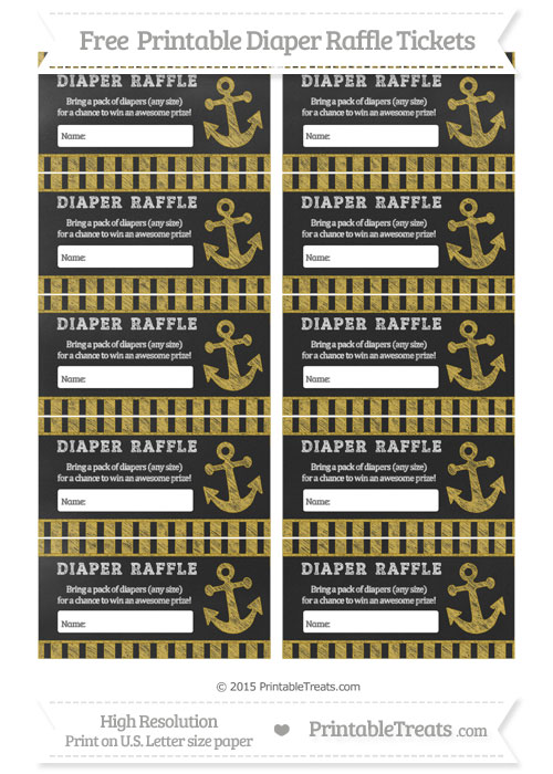 Free Metallic Gold Striped Chalk Style Nautical Diaper Raffle Tickets