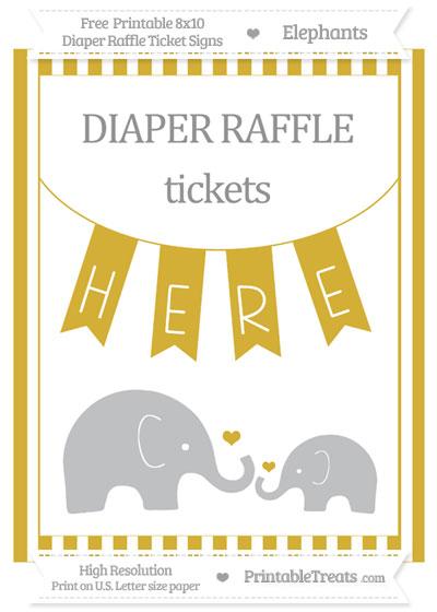 Free Metallic Gold Striped Elephant 8x10 Diaper Raffle Ticket Sign