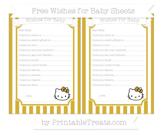 Free Metallic Gold Striped Hello Kitty Wishes for Baby Sheets