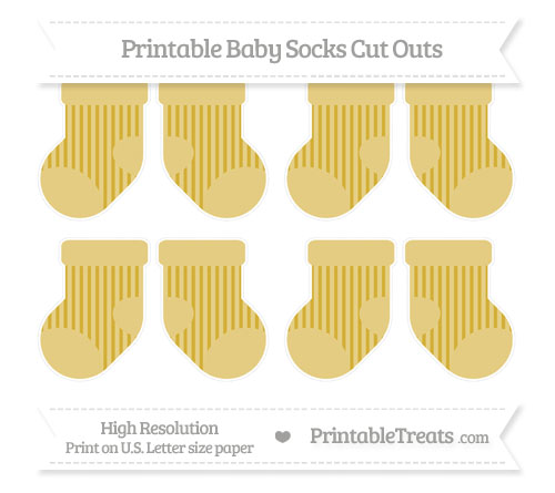 Free Metallic Gold Striped Small Baby Socks Cut Outs