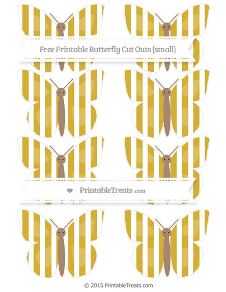 Free Metallic Gold Striped Small Butterfly Cut Outs