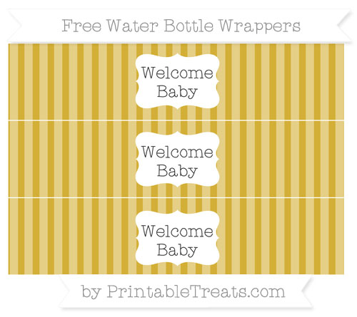 Free Metallic Gold Striped Welcome Baby Water Bottle Wrappers