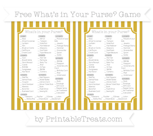 Free Metallic Gold Striped What's in Your Purse Baby Shower Game