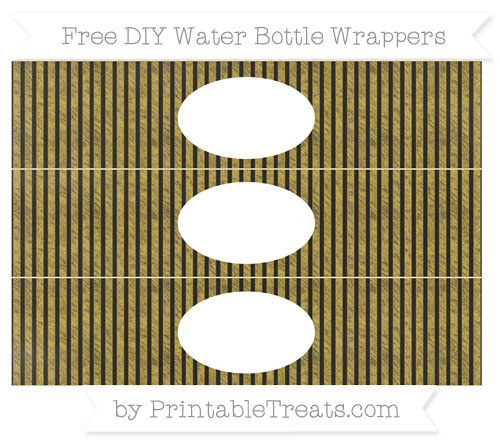 Free Metallic Gold Thin Striped Pattern Chalk Style DIY Water Bottle Wrappers