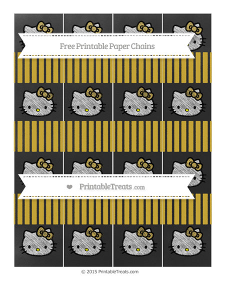 Free Metallic Gold Thin Striped Pattern Chalk Style Hello Kitty Paper Chains