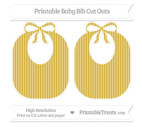 Free Metallic Gold Thin Striped Pattern Large Baby Bib Cut Outs