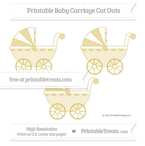 Free Metallic Gold Thin Striped Pattern Medium Baby Carriage Cut Outs