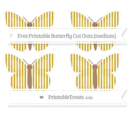 Free Metallic Gold Thin Striped Pattern Medium Butterfly Cut Outs