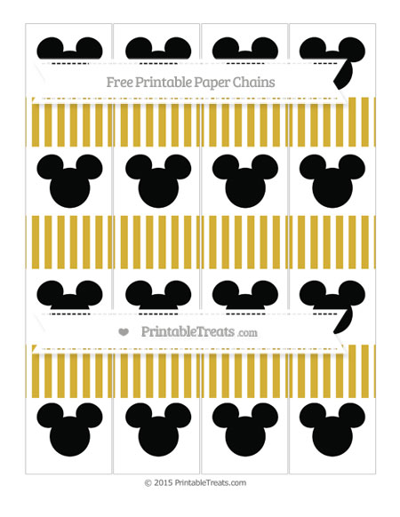 Free Metallic Gold Thin Striped Pattern Mickey Mouse Paper Chains