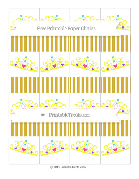 Free Metallic Gold Thin Striped Pattern Princess Tiara Paper Chains