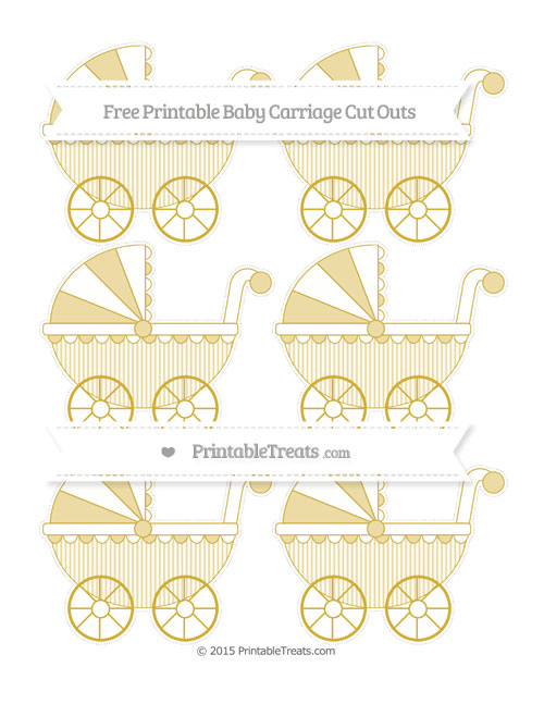 Free Metallic Gold Thin Striped Pattern Small Baby Carriage Cut Outs