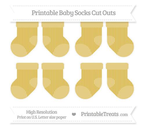 Free Metallic Gold Thin Striped Pattern Small Baby Socks Cut Outs