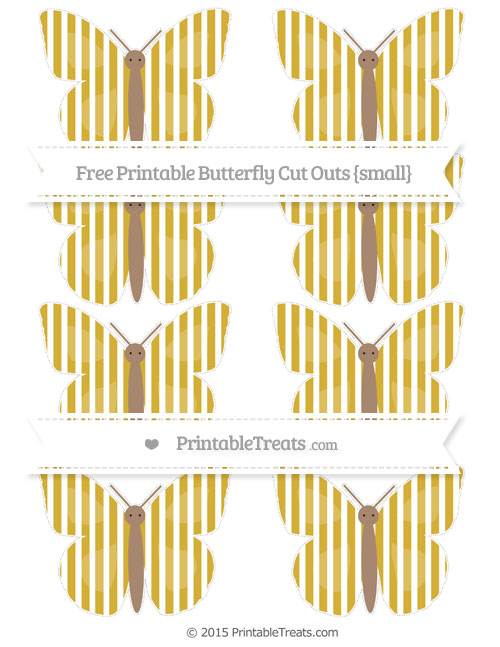 Free Metallic Gold Thin Striped Pattern Small Butterfly Cut Outs