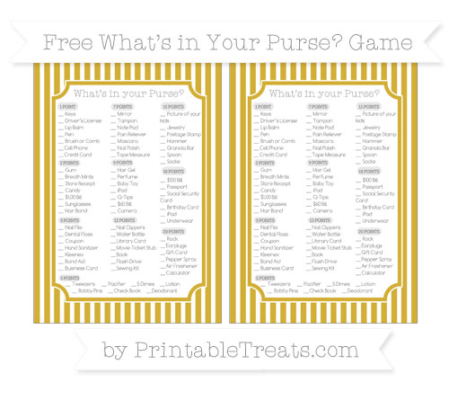Free Metallic Gold Thin Striped Pattern What's in Your Purse Baby Shower Game