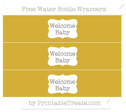 Free Metallic Gold Welcome Baby Water Bottle Wrappers