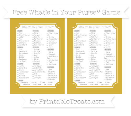Free Metallic Gold What's in Your Purse Baby Shower Game