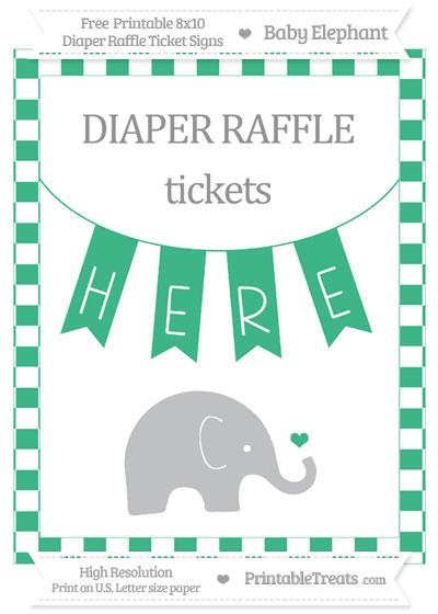 Free Mint Green Checker Pattern Baby Elephant 8x10 Diaper Raffle Ticket Sign