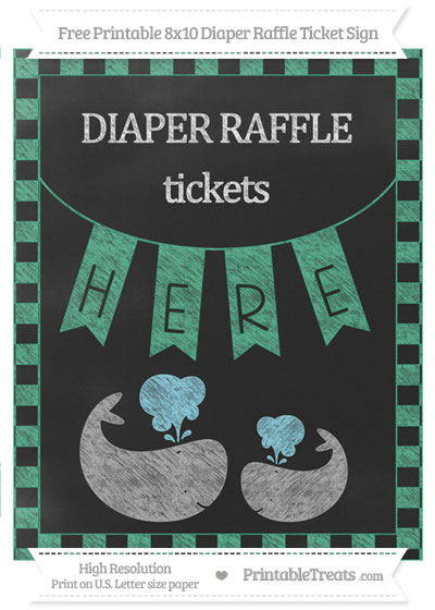 Free Mint Green Checker Pattern Chalk Style Baby Whale 8x10 Diaper Raffle Ticket Sign