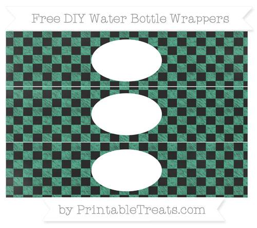 Free Mint Green Checker Pattern Chalk Style DIY Water Bottle Wrappers