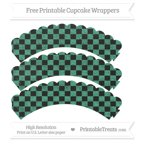 Free Mint Green Checker Pattern Chalk Style Scalloped Cupcake Wrappers