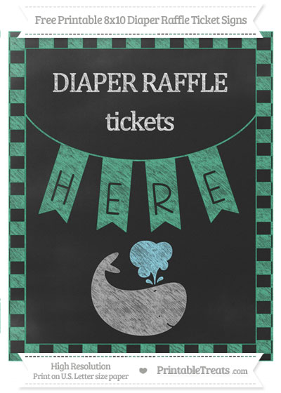 Free Mint Green Checker Pattern Chalk Style Whale 8x10 Diaper Raffle Ticket Sign