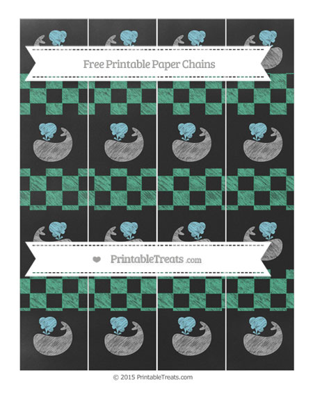 Free Mint Green Checker Pattern Chalk Style Whale Paper Chains