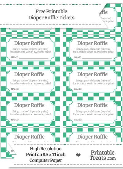 Free Mint Green Checker Pattern Diaper Raffle Tickets