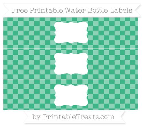 Free Mint Green Checker Pattern Water Bottle Labels