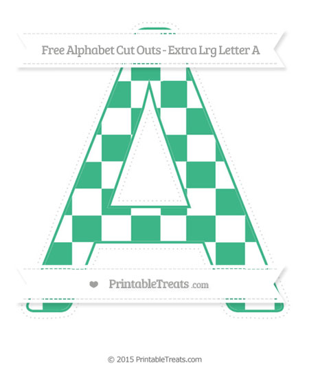 Free Mint Green Checker Pattern Extra Large Capital Letter A Cut Outs