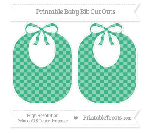 Free Mint Green Checker Pattern Large Baby Bib Cut Outs