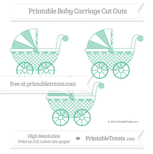 Free Mint Green Checker Pattern Medium Baby Carriage Cut Outs