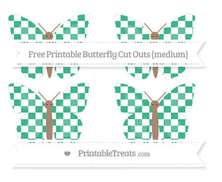 Free Mint Green Checker Pattern Medium Butterfly Cut Outs