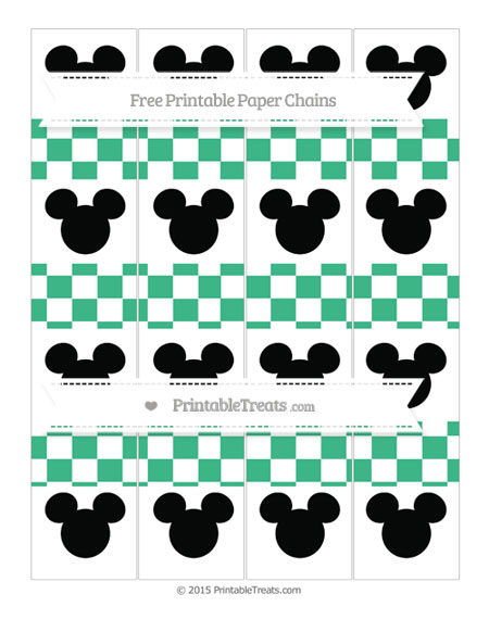 Free Mint Green Checker Pattern Mickey Mouse Paper Chains