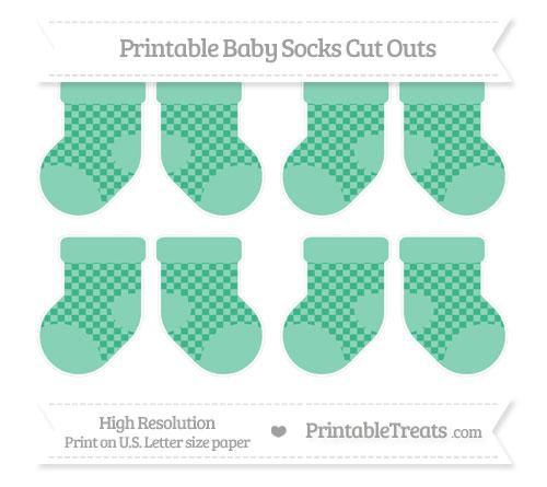 Free Mint Green Checker Pattern Small Baby Socks Cut Outs